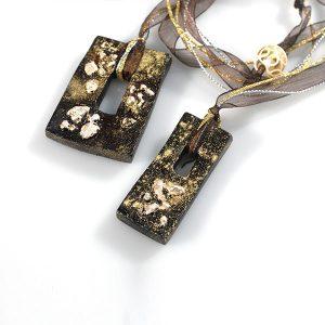 Colgante Meteore en cerámica y terracota, fundidas con pigmentos y plata - Colección Terre - Giovanna Bittante Design