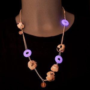 Collar Alba en cristal fotoluminiscente y cadena de plata - Colección Luce - Don't Wash - Giovanna Bittante Design