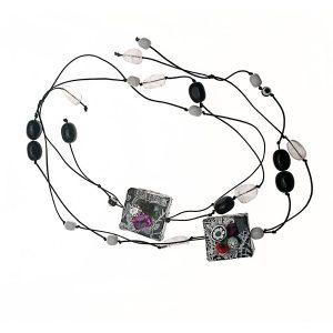 Collar Caffè Pedrocchi en papel, plata y piedras - Colección Don't Wash - Giovanna Bittante Design