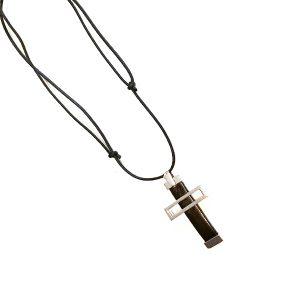Collar Croce Due en plata y cuero - Collezione Giovesol hombre y mujer - Giovanna Bittante Design