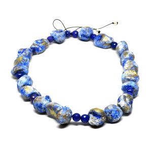 Collar Fondo Marino en agata, papel y pigmentos azules - Colección Don't Wash - Giovanna Bittante Design