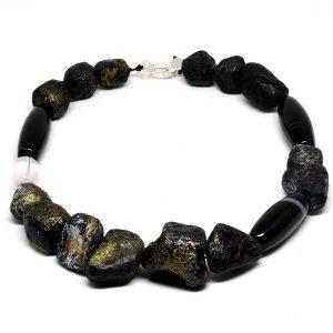 Collar Minerali en papel y piedras naturales (cuarzo, agata) - Colección Don't Wash - Giovanna Bittante Design