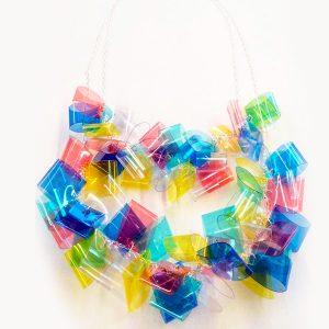 Collar Multicolor en acetato y plata - Colección Intrecci - Giovanna Bittante Design