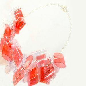 Collar Multirosso en acetato y plata - Colección Intrecci - Giovanna Bittante Design