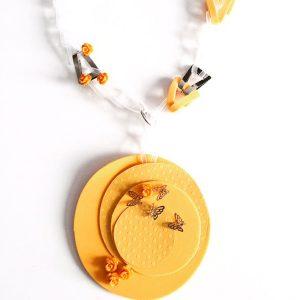 Collar Nastro Giallo en acetato y plata - Colección Intrecci - Giovanna Bittante Design