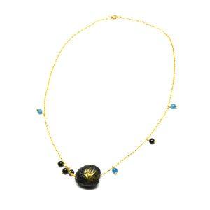 Collana Pepita #1 in carta, pietre naturali, catena d'argento dorata - Collezione Don't Wash - Giovanna Bittante Design