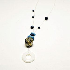 Collar Rugiada en cristal fotoluminiscente y cadena de plata - Colección Luce - Don't Wash - Giovanna Bittante Design