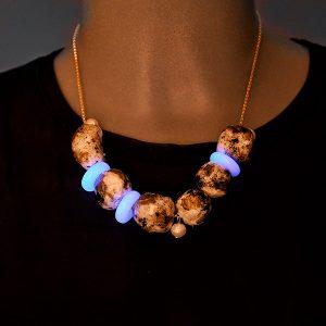 Collar Stella en cristal fotoluminiscente y cadena de plata - Colección Luce - Don't Wash - Giovanna Bittante Design