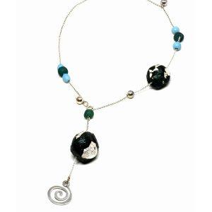 Collar Verdeacqua en papel, piedras naturales y plata - Colección Don't Wash - Giovanna Bittante Design