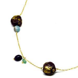 Collar Viola d'autunno en papel, piedras naturales y cadena de plata dorada - Colección Don't Wash - Giovanna Bittante Design