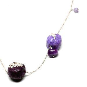 Collar Viola Primavera en papel, piedras naturales y cadena de plata - Colección Don't Wash - Giovanna Bittante Design