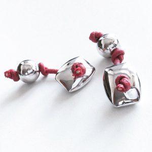 Gemelos Nodo Rosso en plata y cordón encerado - Colección Giovesol hombre y mujer - Giovanna Bittante Design