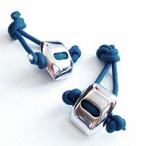 Gemelos Nodo Blu en plata y cordón encerado - Colección Giovesol hombre y mujer - Giovanna Bittante Design