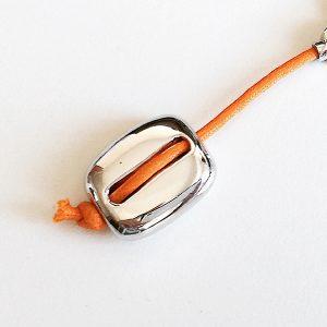 Llavero Rugiada en plata y cordón encerado naranja - Colección Giovesol hombre y mujer - Giovanna Bittante Design